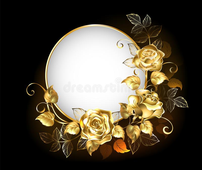 Bandeira redonda com rosas do ouro ilustração stock