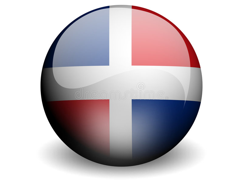 Bandeira redonda da República Dominicana ilustração royalty free