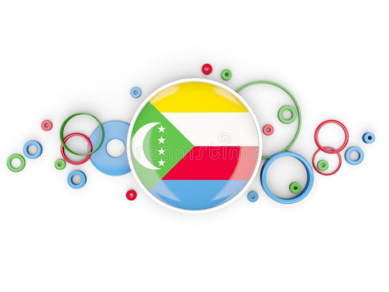 Bandeira redonda de Cômoros com teste padrão dos círculos ilustração stock