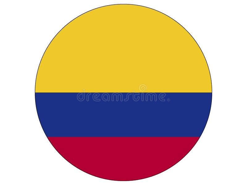 Bandeira redonda de Colômbia ilustração royalty free