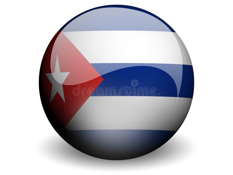 Bandeira redonda de Cuba ilustração royalty free
