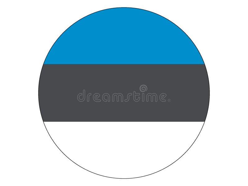 Bandeira redonda de Estónia ilustração royalty free