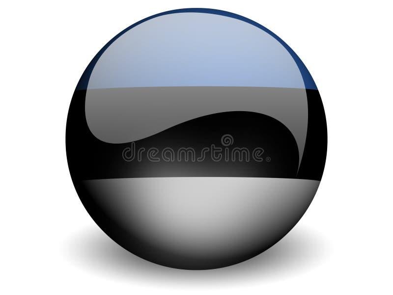 Bandeira redonda de Estónia ilustração stock