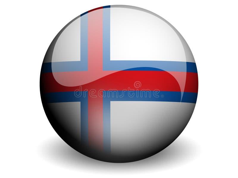Bandeira redonda de Faroé ilustração royalty free
