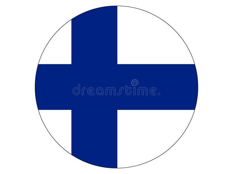 Bandeira redonda de Finlandia ilustração royalty free