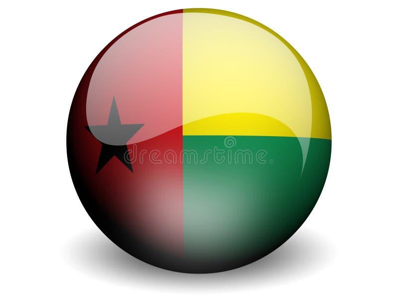 Bandeira redonda de Guiné-Bissau ilustração do vetor