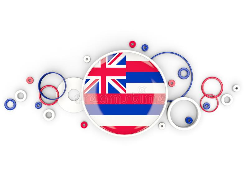Bandeira redonda de Havaí com teste padrão dos círculos Estados Unidos f local ilustração royalty free