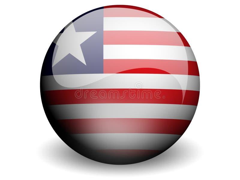 Bandeira redonda de Liberia ilustração stock