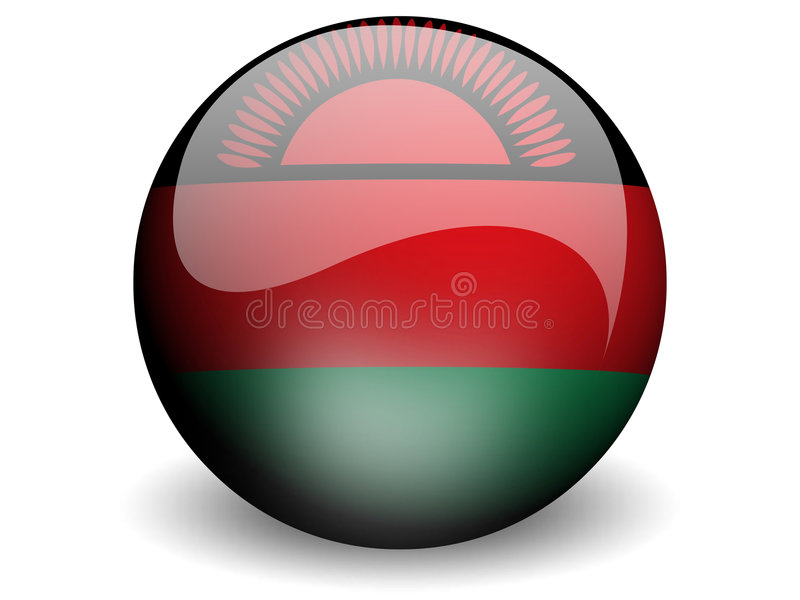 Bandeira redonda de Malawi ilustração do vetor