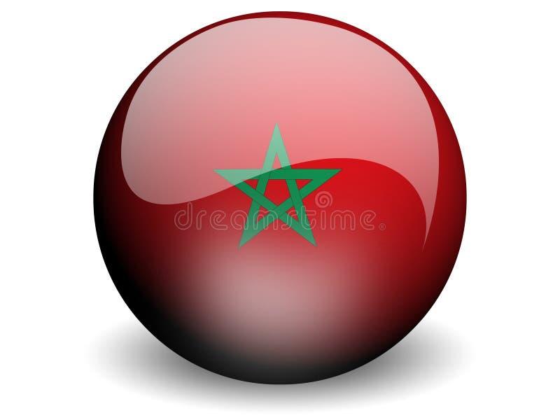 Bandeira redonda de Marrocos ilustração stock