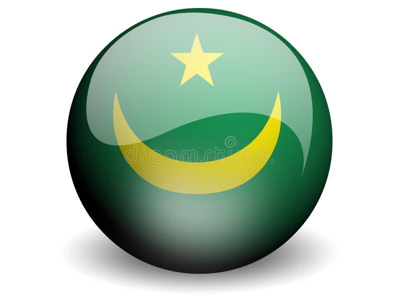 Bandeira redonda de Mauritânia ilustração stock