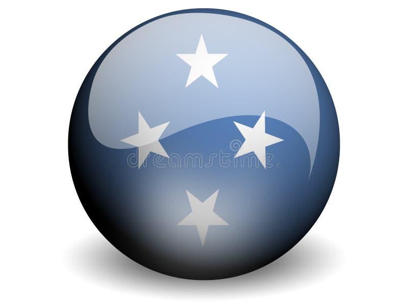 Bandeira redonda de Micronesia ilustração do vetor