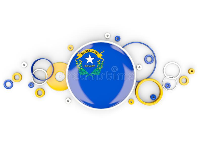 Bandeira redonda de nevada com teste padrão dos círculos Estados Unidos f local ilustração do vetor