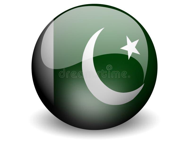 Bandeira redonda de Paquistão ilustração do vetor