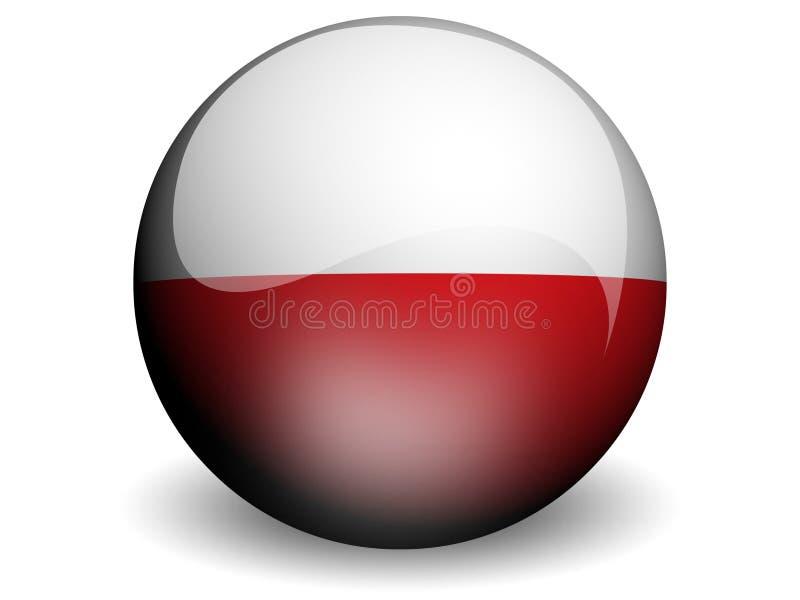 Bandeira redonda de Poland ilustração stock