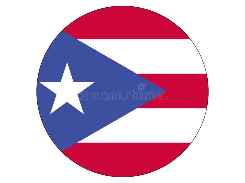 Bandeira redonda de Puerto Rico ilustração stock