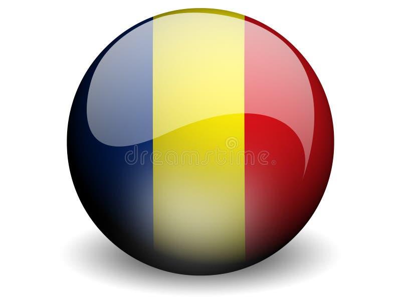 Bandeira redonda de República do Tchad ou de Romania ilustração stock