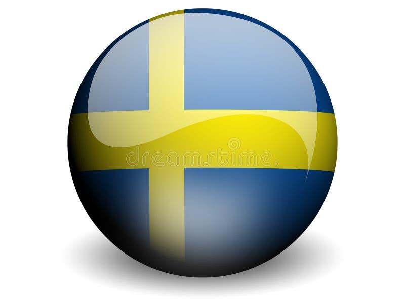 Bandeira redonda de Sweden ilustração do vetor