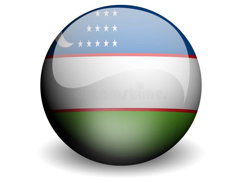 Bandeira redonda de Uzbekistan ilustração do vetor
