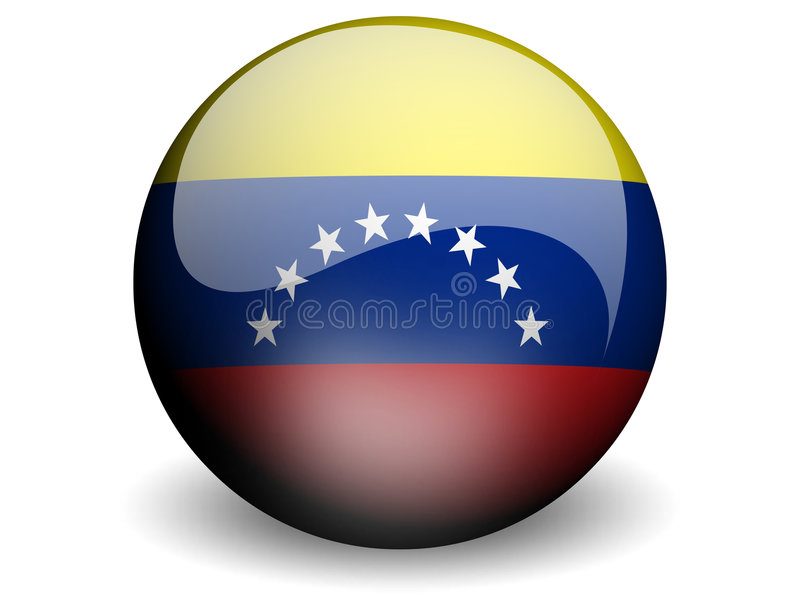 Bandeira redonda de Venezuela ilustração stock
