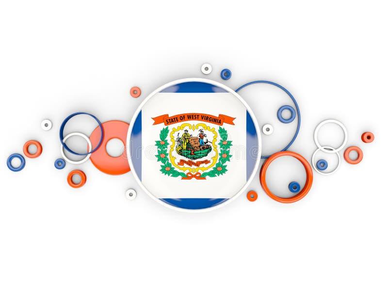 Bandeira redonda de West Virginia com teste padrão dos círculos Estados Unidos ilustração stock