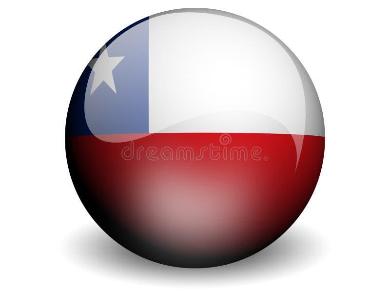 Bandeira redonda do Chile ilustração royalty free