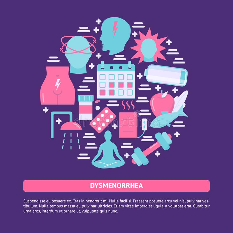 Bandeira redonda do conceito do Dysmenorrhea no estilo liso ilustração stock