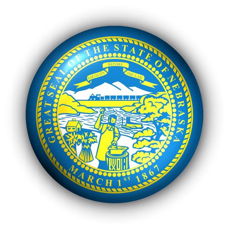Bandeira redonda do estado dos EUA da tecla de Nebraska ilustração royalty free