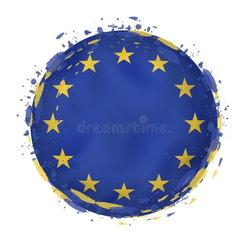 A bandeira redonda do grunge da União Europeia com espirra na cor da bandeira ilustração royalty free