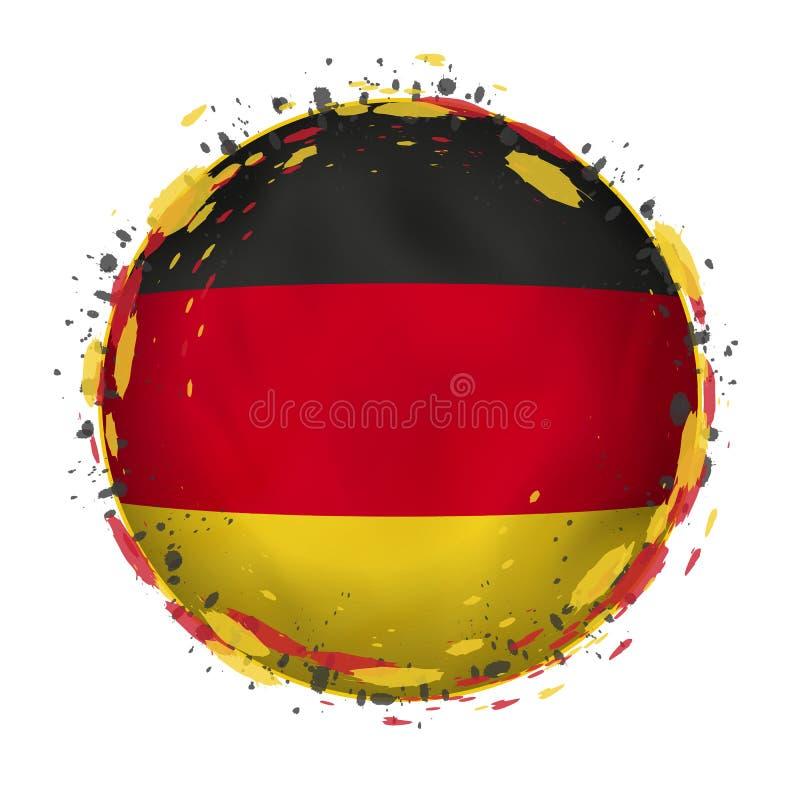 A bandeira redonda do grunge de Alemanha com espirra na cor da bandeira ilustração royalty free