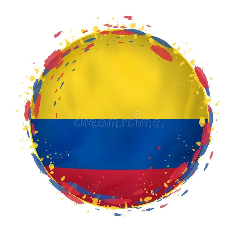 A bandeira redonda do grunge de Colômbia com espirra na cor da bandeira ilustração do vetor