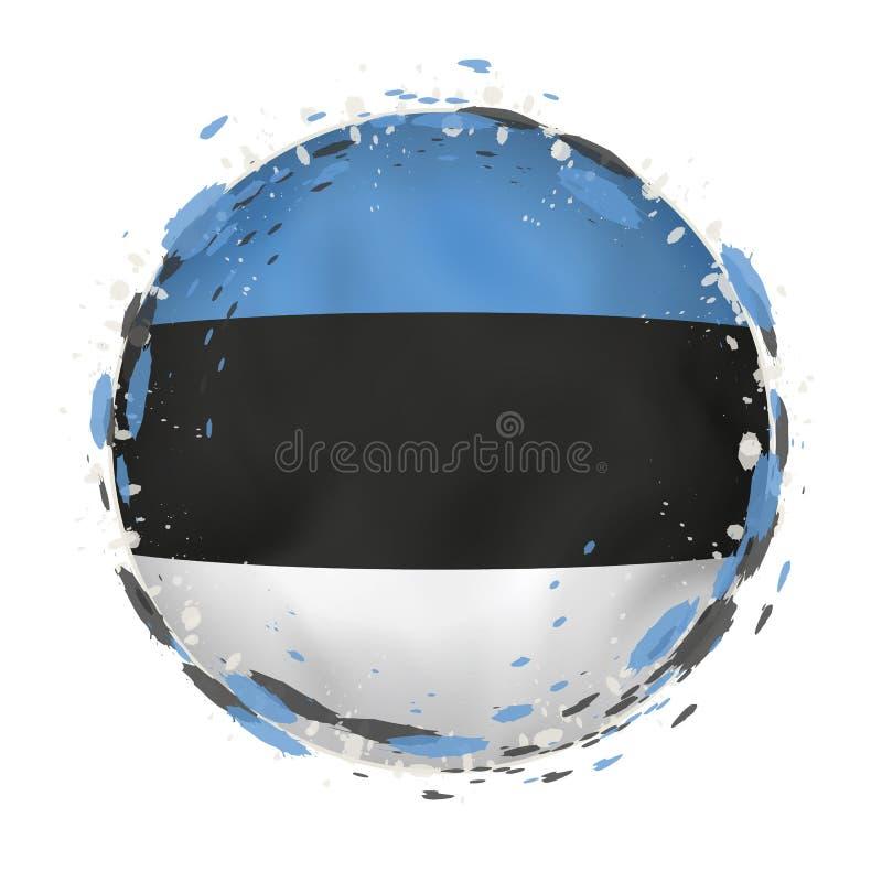 A bandeira redonda do grunge de Estônia com espirra na cor da bandeira ilustração do vetor
