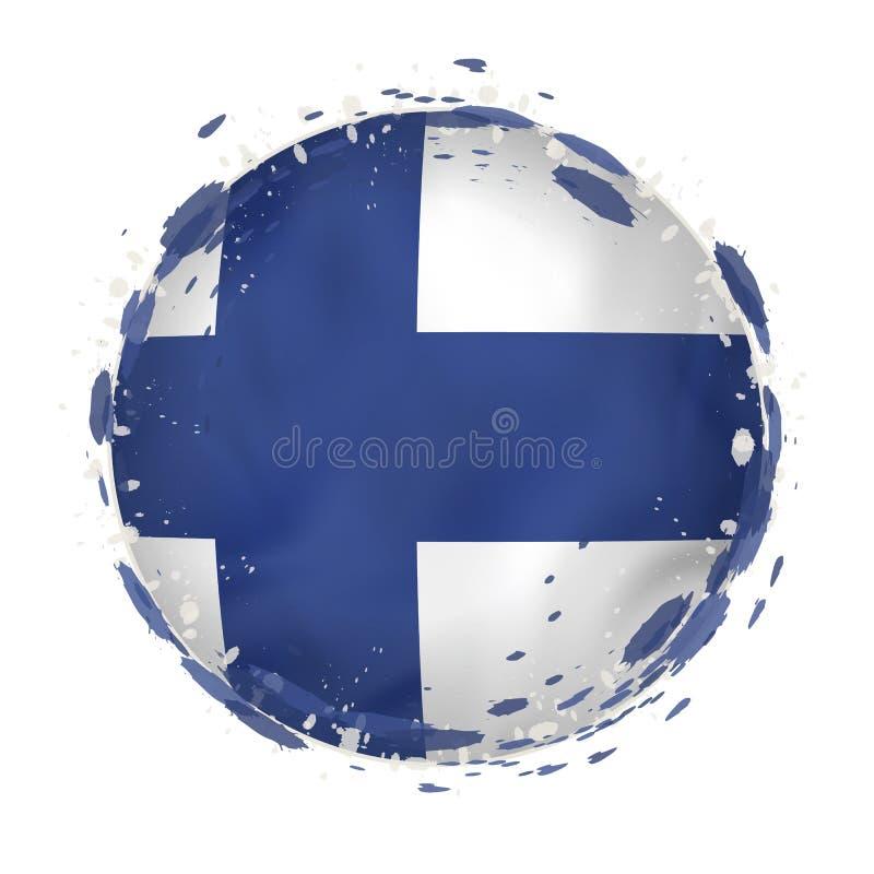 A bandeira redonda do grunge de Finlandia com espirra na cor da bandeira ilustração stock