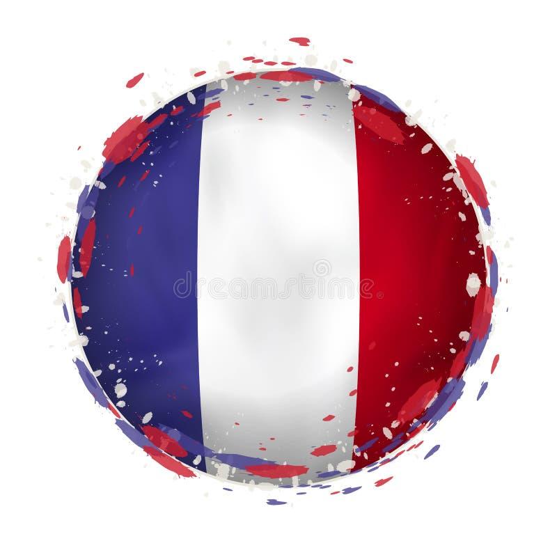A bandeira redonda do grunge de França com espirra na cor da bandeira ilustração royalty free