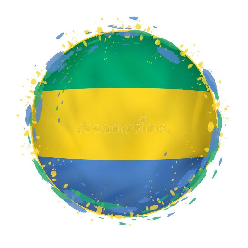 A bandeira redonda do grunge de Gabão com espirra na cor da bandeira ilustração do vetor