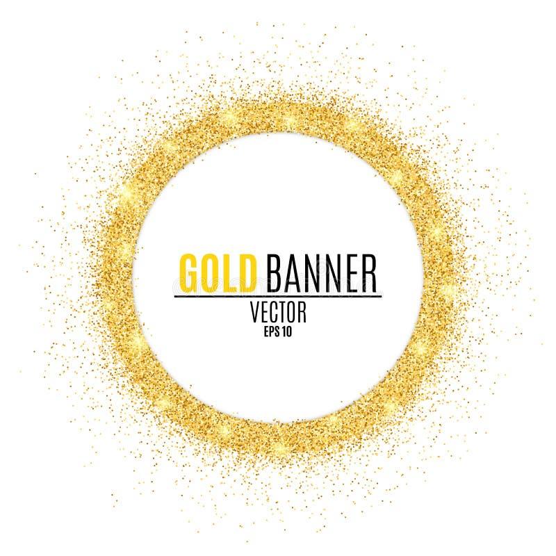 Bandeira redonda do ouro dos brilhos Fundo luxuoso para seu projeto Vetor ilustração stock