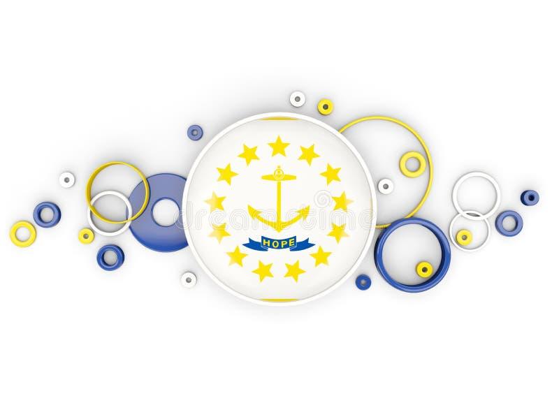 Bandeira redonda do rhode - ilha com teste padrão dos círculos Estados Unidos l ilustração stock
