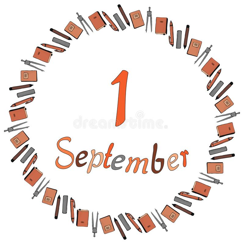 Bandeira redonda para o 1º de setembro dos materiais de escritório A inscrição e os compassos, lápis, penas, réguas, cadernos e l ilustração stock