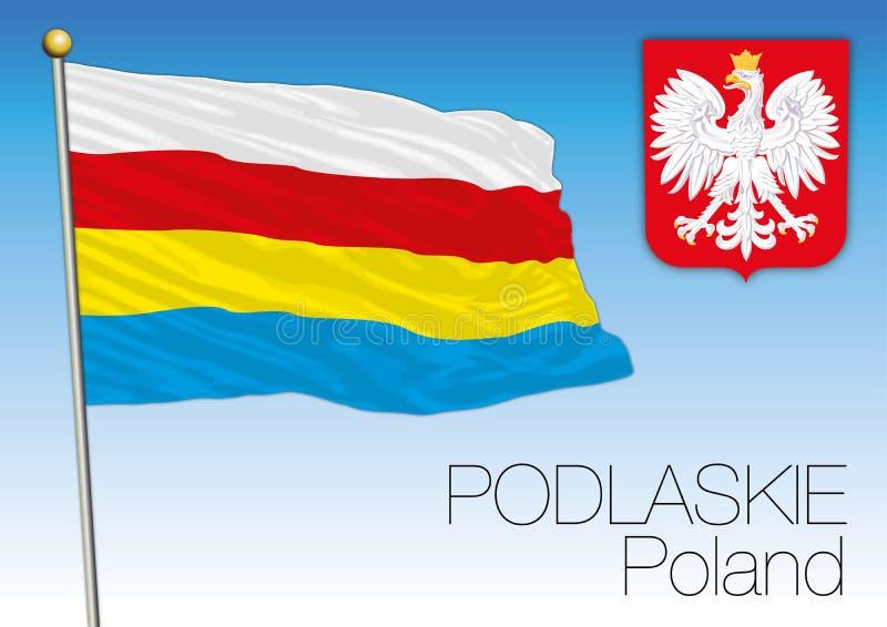 Bandeira regional de Podlaskie, Polônia ilustração stock