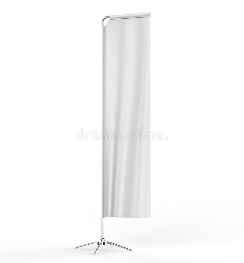 Bandeira relativa à promoção da bandeira do suporte visual varejo exterior retangular branco vazio da praia da propaganda da vend ilustração do vetor