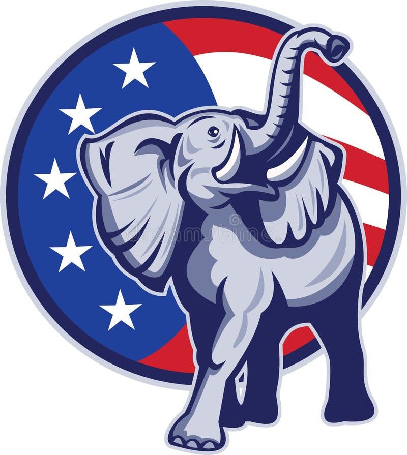 Bandeira republicana dos EUA da mascote do elefante ilustração royalty free