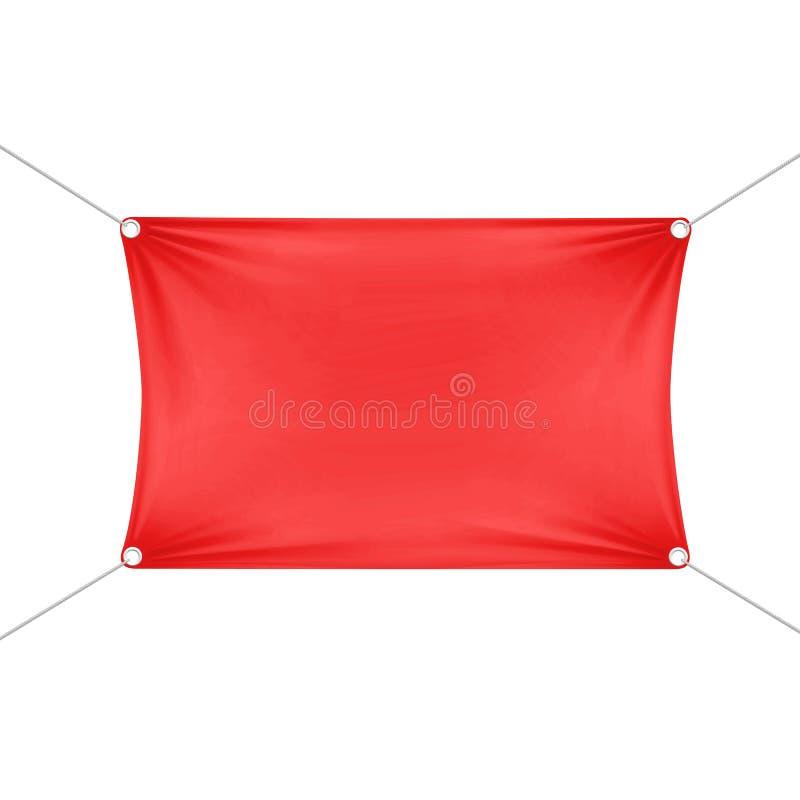 Bandeira retangular horizontal vazia vazia vermelha ilustração stock