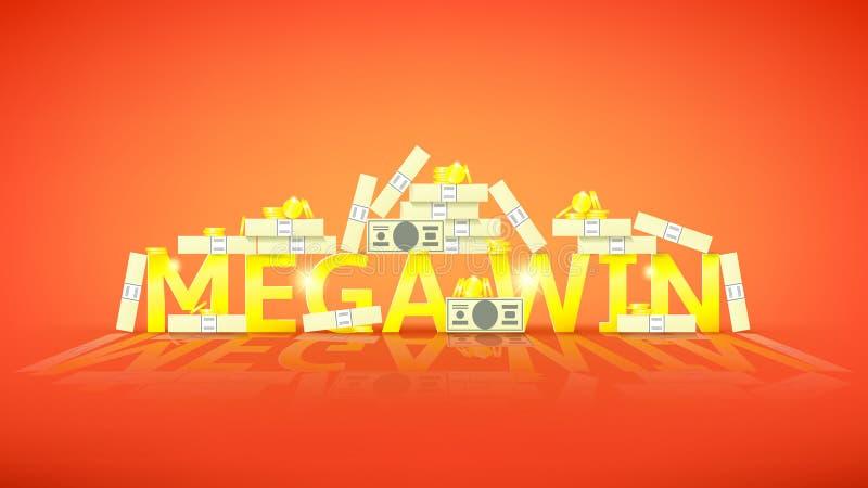 Bandeira retro da vitória mega com dinheiro ilustração royalty free