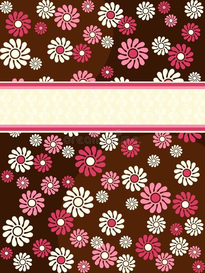 Bandeira retro vertical de Brown com flores cor-de-rosa ilustração royalty free