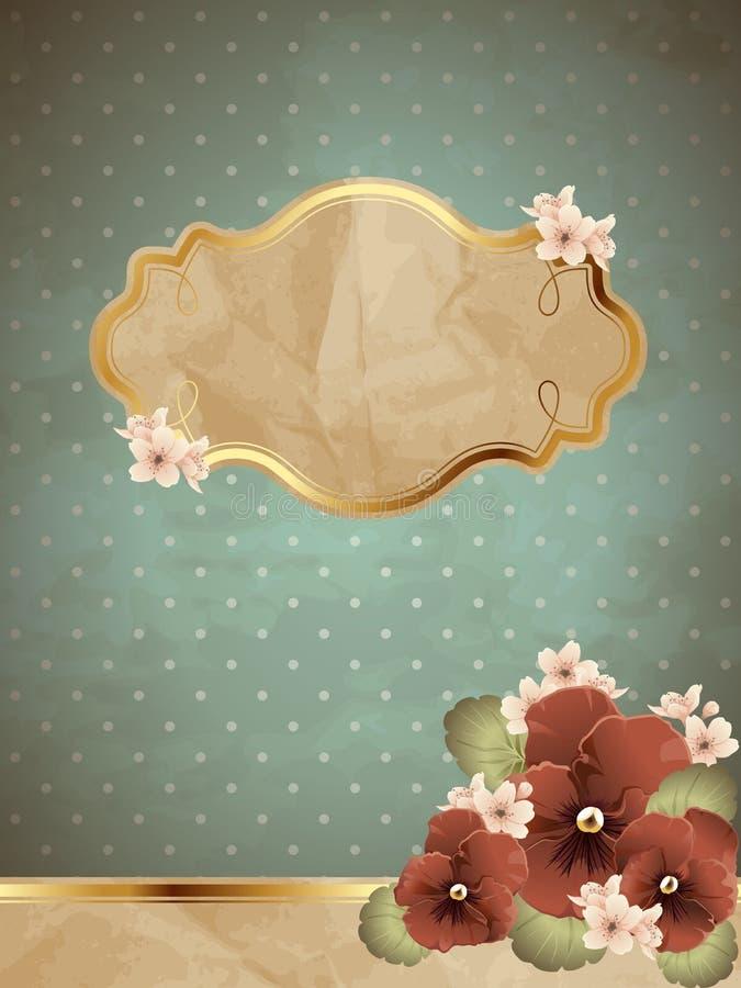 Bandeira romântica azul do vintage com flores ilustração do vetor