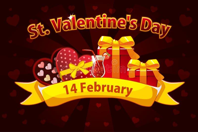 Bandeira romântica para Saint Valentine Day, cartões, cartaz Ilustração do vetor para o dia de são valentim do St Objetos na ilustração royalty free