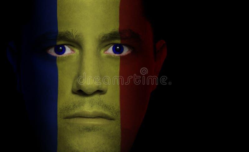 Bandeira romena - face masculina imagens de stock royalty free