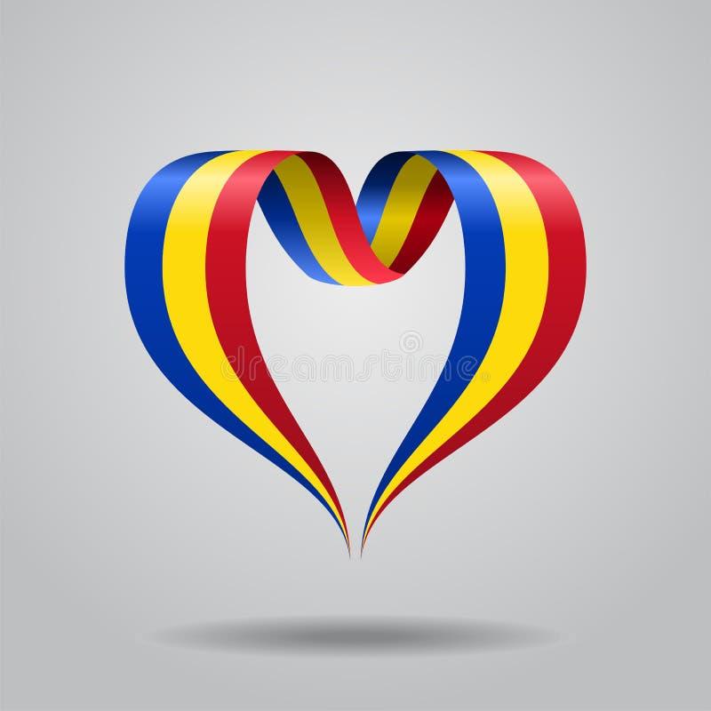 Bandeira romena fita coração-dada forma Ilustração do vetor ilustração stock