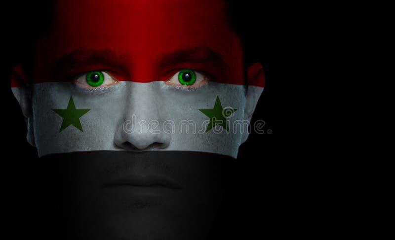 Bandeira síria - face masculina fotos de stock