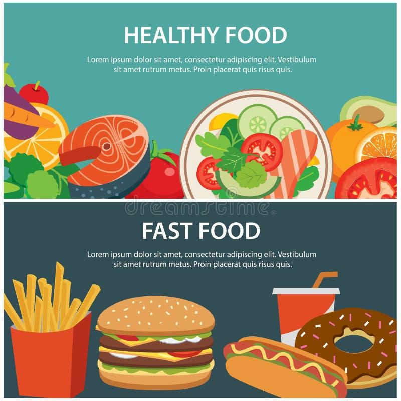 Bandeira saudável do conceito do alimento e do fast food ilustração royalty free
